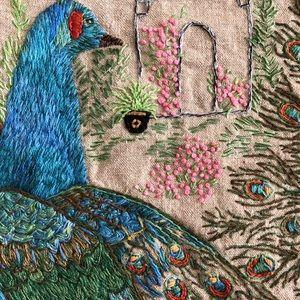 VTG Bohemian Peacock Tapestry Wall Hanging 1960's
